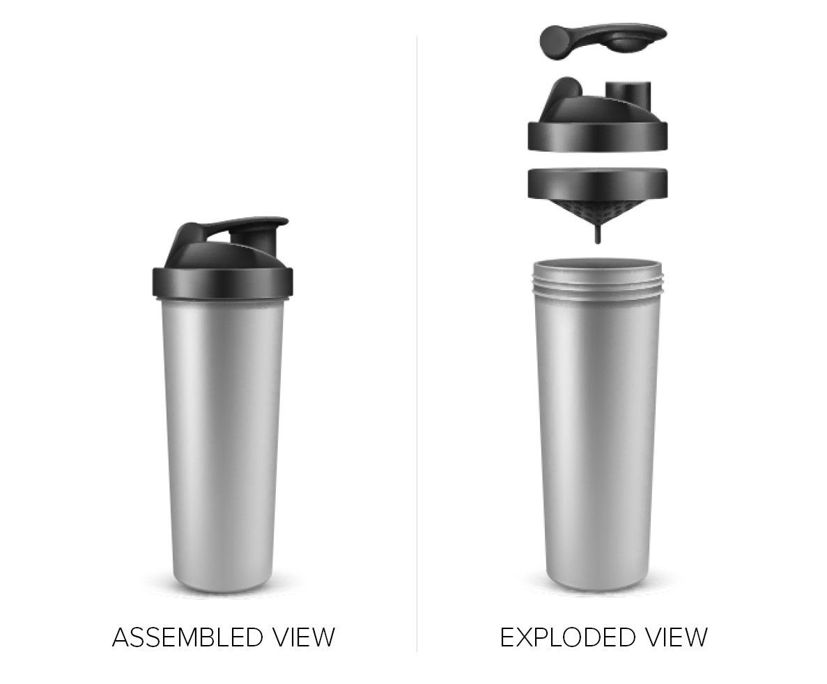 Two images of a water bottle, the first fully assembled, and the second showing individual parts such as the main bottle, the lid and the filtration system.