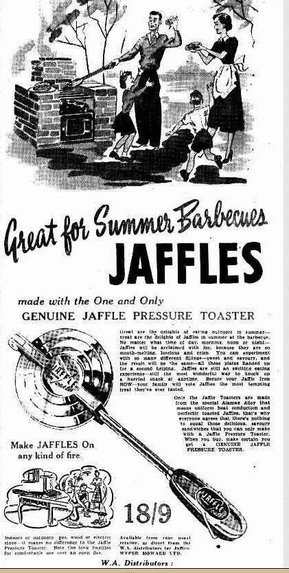 Newspaper advertisement for Jaffle toaster