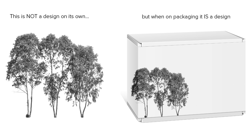 Photo of three trees on a solid white background. This photo is not a design on its own. But when the photo appears on packaging such as a box it is a design.